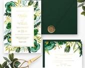Elegant Emerald Green Gold Wedding Invitation and RSVP Floral Watercolor Flowers Bridal Shower or Baby Shower Custom