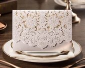 MANY COLORS Laser Cut Pocket Fold Wraps For Wedding Baby Bridal Shower DIY Invitations Cream Ivory Burgundy Navy Gold Pink Silver Champagne