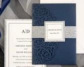 Classic Navy Blue Shimmer Laser Cut Pocket Fold Wedding Invitations RSVP Cards and Envelopes Glitter Silver Belly Band Modern Custom Suite
