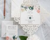 Elegant Pearl White Laser Cut Lace Petal Fold Wedding Invitations and RSVP Cards Envelopes Cream Ivory Ecru Neutral Floral Pocket Fold