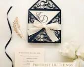 Elegant Navy Blue Shimmer Laser Cut Scroll Petal Fold Wedding Invitation RSVP Card Envelope With Satin Ribbon Pocket Invite