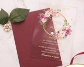 Gorgeous UV Printed Clear Acrylic Wedding Invitations Pink Green Floral Botanical Flowers Leaves Greenery Wreath Bridal Shower Quineanera