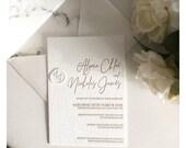 Gorgeous Letterpress Wedding Invitation RSVP Gold Ivory Envelope Bridal Shower Baby Birthday Anniversary Rehearsal Dinner Custom Elegant