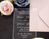 Gorgeous Clear Acrylic Wedding Invitations White Wording Elegant Border Lucite Perspex Baby Bridal Shower Birthday Quinceanera  Anniversary