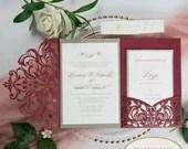 Burgundy Shimmer Laser Cut Lace Pocket Fold Wedding Invitation RSVP Gold Ivory Shimmer Belly Band Envelope Backer Bridal Shower Baby Folder