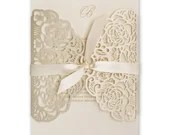 Luxurious Gold Shimmer Laser Cut Gate Fold Wrap Ivory Thermography Printed Wedding Invitation RSVP Card Envelope Ecru Cream Bridal Shower