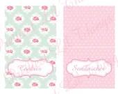Shabby Chic English Rose Food Labels Girls Birthday Party Bridal or Baby Shower Wedding Digital DIY Cards Pink Blue