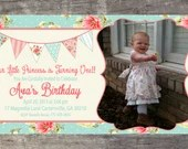 Shabby Chic Vintage Girls Birthday Bridal or Baby Shower Tea Party Invitation Digital Pink Blue Yellow