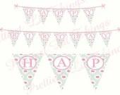 Shabby Chic English Rose Girls Happy Birthday Party Banner Bridal or Baby Shower Wedding Digital DIY Pink Blue