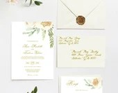 Watercolor Floral Wedding Invitation and RSVP Blush Pink Cream White Gold Flowers Botanical Greenery Bridal or Baby Shower Digital File