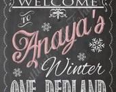Shabby Chic Vintage Chalkboard Welcome Sign Winter ONE-derland Frozen Wonderland Birthday Bridal or Baby Shower Wedding Birthday Digital DIY