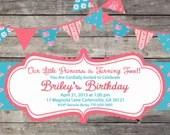 Shabby Chic English Rose Girls Birthday Party Bridal or Baby Shower Invitation Wedding Pink Red Blue Digital Vintage