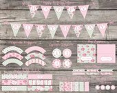 Shabby Chic English Rose Party Package Water Bottle Labels Banner Cupcake Wrappers Toppers Birthday Party Baby Bridal Shower Digital Vintage