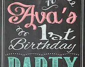 Shabby Chic Vintage Chalkboard Welcome Sign Birthday Party Bridal or Baby Shower Wedding Digital