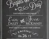 Vintage Chalkboard Forever Begins On This Day Wedding Invitation Invite Bridal or Baby Shower Birthday Party Digital DIY