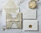 Champagne Gold Glitter Laser Cut Gate Fold Wrap Wedding Invitation RSVP Envelope Ivory Ribbon Baby Bridal Shower Birthday Baptism Pocket