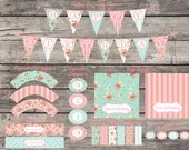 Shabby Chic Printable DIY Girls First Birthday Party Baby Bridal Shower Digital Banner Cupcake Toppers Water Bottle Labels Wrappers Package