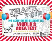 Carnival Circus Thank You Card Girl or Boy Birthday Party Bridal or Baby Shower Wedding Red Blue Yellow Tent Balloons Elephant Ferris Wheel