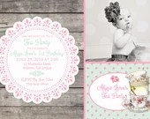 Shabby Chic Vintage Girls Tea Party Birthday Party Bridal or Baby Shower Invitation Digital Pink Blue Yellow