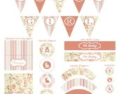 Shabby Chic Printable DIY Girl Baby Shower Party Package Digital Pink