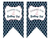 Nautical Thanks For Sailing By Favor Tags Girl Baby or Bridal Shower Birthday Party Wedding Decor Navy Blue Pink White Digital File