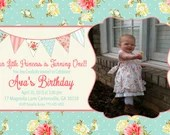 Shabby Chic Girls Birthday Party Bridal or Baby Shower Invitation Digital Pink Blue Yellow