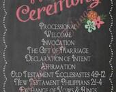 Shabby Chic Vintage Chalkboard Wedding Ceremony Sign Program Order of Events Digital