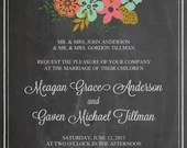 Shabby Chic Vintage Chalkboard Wedding Invitation Floral Flowers Announcement Birthday Party Bridal Baby Shower Sign Digital DIY Printable