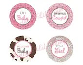 Shabby Chic Cowgirl Western Cupcake Toppers Vintage Lace Girls Birthday Party Bridal or Baby Shower Digital Pink Brown