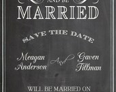 Shabby Chic Vintage Chalkboard Save The Date Wedding Invitation Announcement Birthday Party Bridal or Baby Shower Sign Digital