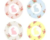 Shabby Chic Baby Shower Cupcake Toppers Tags or Stickers for Candy or Favors