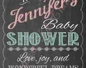 Shabby Chic Vintage Chalkboard Welcome Sign Baby Boy or Girl Baby or Bridal Shower Wedding Birthday Digital File