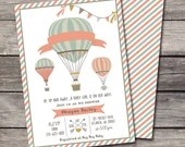 Up, Up and Away Baby Shower Invitation Hot Air Balloon Birthday Party Bridal Wedding Digital File Rustic Folk Vintage Shabby Chic DIY