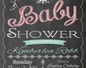 Shabby Chic Vintage Chalkboard Baby Shower Invitation Girl or Boy Sign Birthday Party Bridal or Wedding Digital DIY Printable