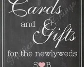 Shabby Chic Vintage Chalkboard Sign Cards & Gifts Birthday Party Bridal or Baby Shower Wedding Digital DIY