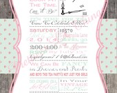 Shabby Chic English Rose Vintage Girls Tea Party Invitation Birthday Party Bridal or Baby Shower Pink Mint Green Digital File
