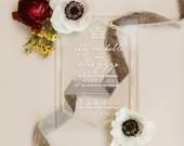 Gorgeous Acrylic Wedding Invitations Cream Ivory Gold Modern Lucite Thin or Thick Classic Elegant Modern Vintage Bespoke