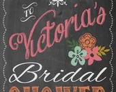 Shabby Chic Vintage Chalkboard Welcome Sign Bridal or Baby Shower Wedding Birthday Party Digital