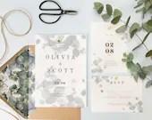 Eucalyptus Leaves Vellum Wedding Invitation RSVP Card Save The Date Envelopes Grey Blue Botanical Greenery Ivory White Cream Green Bridal