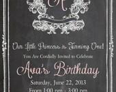 Shabby Chic Vintage Chalkboard Invitation Birthday Party Bridal or Baby Shower Wedding Initial Digital