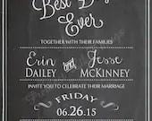 Vintage Chalkboard Best Day Ever Wedding Invitation Invite Bridal or Baby Shower Birthday Party Digital DIY
