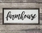 """Modern Rustic Farmhouse Wood Sign - Large Painted Wall Decor 42"""" x 19"""" Country Accents"""