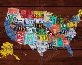 License Plates United States Map Picture Wood Background Wall Art Typography Decor Print Photo Rustic Retro Vintage Digital DIY