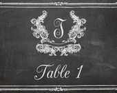 Shabby Chic Vintage Chalkboard Table Numbers For Wedding Invitation Birthday Party Bridal or Baby Shower Sign Digital