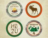 Rustic Vintage Backyard Campout Cupcake Toppers Camp Camping Boy Girl Party Bridal Baby Shower Moose Tent Campfire Fire Digital File DIY