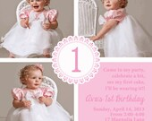 Shabby Chic Traditional Girls First Birthday Party Baby Shower Invitation or Birth Announcement Pink