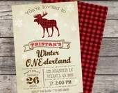 Rustic Vintage Moose Winter ONE-derland Boy Girl Invitation Birthday Party Bridal Baby Shower ONEderland Wonderland Frozen Snowflake DIY