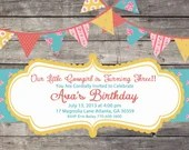Shabby Chic Rustic Country Western Cowgirl Girls Birthday Party Bridal or Baby Shower Invitation Wedding Pink Red Blue Digital Vintage