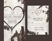 Birch Wood Rustic Tree Bark Carved Heart Wedding Suite Package Invitation Baby or Bridal Shower Birthday Party Digital File or Printed