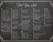 Shabby Chic Vintage Chalkboard Wedding Ceremony Seating Chart Sign Seating Plan Find Your Seat Digital File